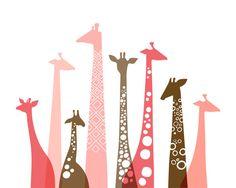"16X20"" giraffes landscape giclee print on fine art paper. pink, coral, brown."