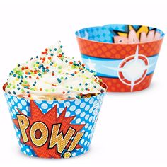 Superhero Comics Reversible Cupcake Wrappers (12)