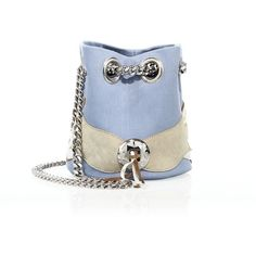 Delphine Delafon Extra Small Denim & Suede Bucket Bag ($1,365) ❤ liked on Polyvore featuring bags, handbags, shoulder bags, apparel & accessories, blue, blue suede purse, suede handbags, bucket bag, denim purse and suede bucket bag