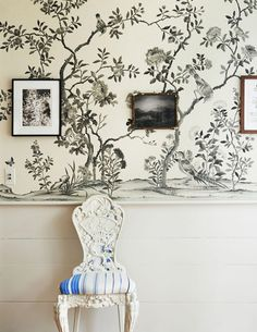 antique chair and black and white chinoiserie wallpaper - refined boheme house tour via coco kelley