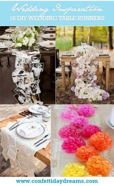 DIY Wedding Table Runner Ideas - I like the moss runner (but cut into squares) or the terra cota pots ideas