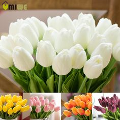 umiwe 1030pcs pu fake artificial silk tulips flores bouquets party artificial flowers for