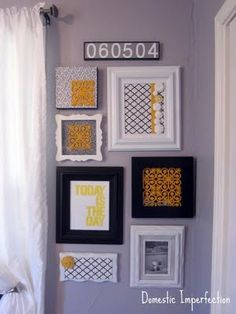 wall of frames... yellow and patterns and gorgeousness!