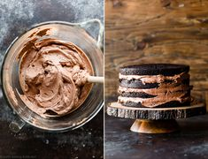 This dark chocolate mousse cake uses dark cocoa powder for extra rich flavor. Fill the cake with easy chocolate mousse and cover it with chocolate ganache. Easy Chocolate Mousse, Chocolate Cake Recipe Easy, Dark Chocolate Cakes, Chocolate Shavings, Chocolate Flavors, Chocolate Desserts, Easy Cake Recipes, Dessert Recipes, Gourmet Desserts