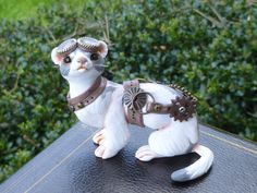 Steampunk White and Gray Ferret Polymer clay Sculpture by MysticReflections on Etsy