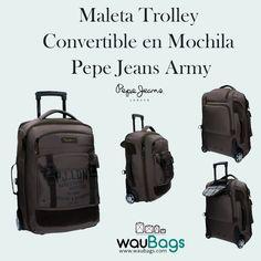 Maleta Trolley Convertible en Mochila Pepe Jeans Army   #PepeJeans #MochilaPepeJeans #TrolleyPepeJeans