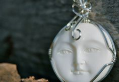 White Porcelain Full Moon Face Silver Filled Wire by StudioPlay31, $27.00