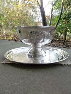 Antique Silver Punch Bowl and Tray Silver Plate by misshettie