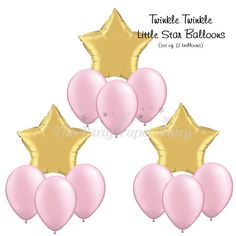 Add the perfect touch to your little ones twinkle birthday party with this balloon bouquet.  INCLUDES: 3 - 20 inch gold star foil balloons 9 -