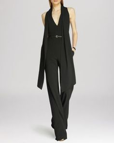 HALSTON HERITAGE Scarf Detail Tailored Jumpsuit   Bloomingdale's