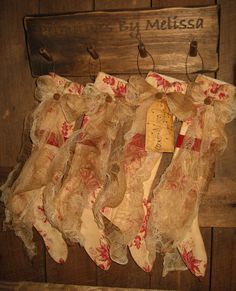 Folk Art PrimiTive GruNgy Red Toile ChrisTmas STOCKINGS OrNies Tree OrnamenTs #NaivePrimitive #MelissaHarmon