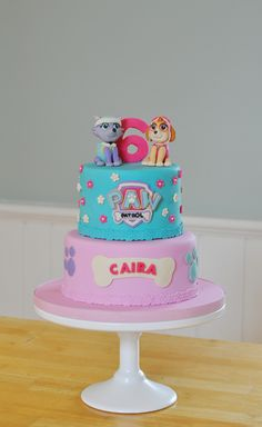 PAW Patrol, PAW Patrol Whenever you're in trouble PAW Patrol, PAW Patrol We'll be there on the double If you are a parent, you know what Paw Patrol is. Girls Paw Patrol Cake, Skye Paw Patrol Cake, Torta Paw Patrol, Paw Patrol Birthday Girl, Paw Patrol Party, Third Birthday Girl, 4th Birthday Cakes, Paw Patrol Cake Decorations, Dog Bone Cake