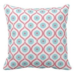 White Red Blue Floral Throw Pillow - Visit our website www.prettythrowpillows.com to see our full collection