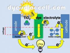Working Principle of Dye-sensitized solar cell Solar Energy Panels, Best Solar Panels, Solar Powered Water Heater, Solar Solutions, Solar Roof Tiles, Solar Panel Installation, Roofing Systems, Solar Energy System, Panel Systems