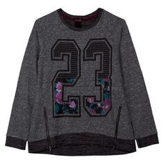 Junior's Number with Roses Graphic Sweatshirt