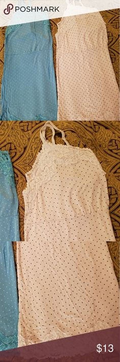 White Lane Bryant cami/Tank *White* Lane Bryant (sz14-16) cami top w/ black polka dots and lace!! REALLY soft and relaxed cotton!   **This listing is for the white tank only, as the blue one has sold** This tank is in good used condition, only worn a couple times. SO cute with shorts in the summer...the lace trim of the tank sits just below the waist line of most shorts/jeans. Lane Bryant Tops