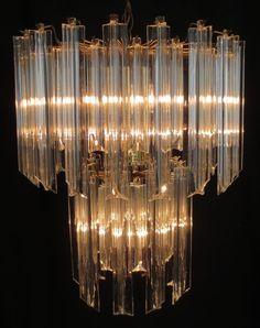 Vintage Acrylic Lucite Prism 2 tier Chandelier Hollywood Regency Venini Style NR