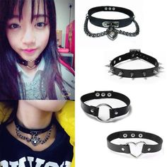 2016 In Fashion Punk Lady Gothic Leather Spike Rivet Buckle Choker Collar Chain Necklace