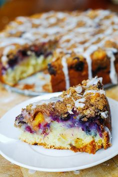 Apple Blueberry Peach Coffee Cake by JuliasAlbum.com. Looks amazing and good tips for storing given also.