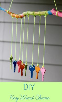 DIY Key Wind Chime!https://www.retailpackaging.com/categories/74-everyday-specialty-ribbon/products/2359-mini-satin-ribbon #crafts #art