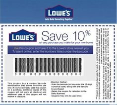 FIVE (5x) Lowe's 10% Off Printable-Coupons - Exp 10/15/16 - Emailed in minutes