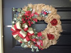 Do you love wreath crafts? Then you will absolutely love this burlap Christmas wreath. This homemade Christmas decoration is perfect to hang over your front door or fireplace mantel. You will adore this beautiful Christmas craft.