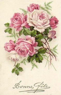 32 ideas for flowers vintage image pink roses Art Floral, Floral Vintage, Vintage Diy, Vintage Cards, Vintage Paper, Vintage Flowers, Vintage Postcards, Vintage Prints, Decoupage Vintage