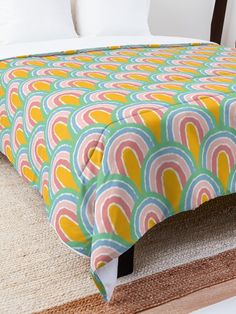 """""""Rainbow Convention Pattern"""" Comforter by MadoMade Rainbow Colours, How To Get Warm, College Dorm Rooms, Rainbow Bridge, Square Quilt, Quilt Patterns, Blankets, Comforters, Comfy"""