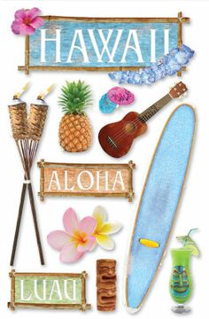 Paper House Travel 3 D Stickers Hawaii Scrapbook Stickers, Scrapbook Supplies, Scrapbooking, Planner Stickers, Handmade Greetings, Greeting Cards Handmade, Messi Gif, Foto 3d, Sewing Crafts