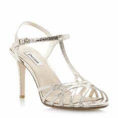 dune ladies champagne metallic strappy t-bar heeled sandal, dune shoes online