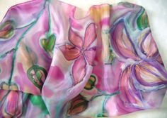 Pink Lilies Hand Painted Silk Scarf for Ladies. Pink, Purple, Violet, Green. Long 16x59 inch  https://www.etsy.com/shop/TiiuHandCraft