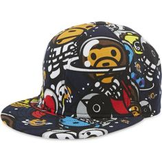 CHOCOOLATE All-over print snapback cap ($82) ❤ liked on Polyvore featuring accessories, hats, multi, adjustable snapback hats, flat cap, peaked cap, snap back hats and adjustable hats