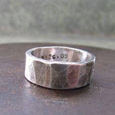 8 mm custom rustic wedding band silver by SilverSparrowDesigns