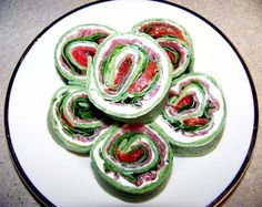 Florentine pinwheels, cream cheese, fresh spinach, proscuitto, jar red bell peppers, basil