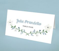 Floral Place Cards (set of 50 cards) - White Flower Escort Cards - Floral Escort Cards - Rustic Wedding Place Cards - White & Blue Cards by Leveret Paperie