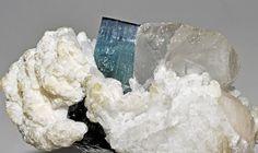 """Tourmaline var. indicolite, quartz, albite var. cleavelandite,"" Sabsar, Haramosh Mts., Skardu District, Baltistan, Gilgit-Baltistan (Northern Areas), Pakistan"