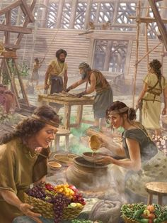Noé y su familia construyendo el arca y preparando el alimento
