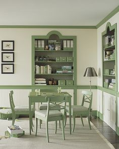 clever idea to add color to room...not sure I'd use just this exact color of green, but do like the impact of colored trim.