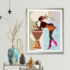 African American Black Woman Art Afrocentric Decor Painting | Etsy Afro, African Artwork, Office Prints, Art Africain, Framed Prints, Canvas Prints, Woman Art, Black Women Art, African Women