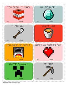 My children and I have been playing Minecraft since Beta and this year my children asked if I could make Minecraft Valentine's Day cards for their school's Valentine's Day party. Of course, I'm not...