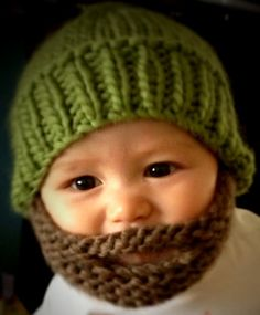 Hand Knitted Beard-dude Beanie Hat with beard attached - baby size. on Etsy, $24.83