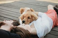 One of my favorite shots for puppy and couple I've ever seen... We need a shot like this for christmas with Cash Man