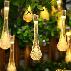 15.7FT 20 LED Bubble Icicle Fairy String Light Solar Power Christmas Party Lamp
