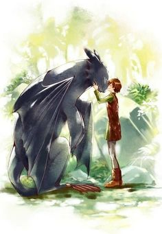 Hiccup, Toothless, How to Train Your Dragon, cute; Anime