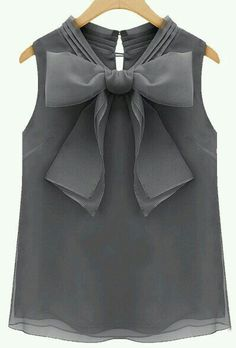 ddf187e55ecdbc Grey Sleeveless Bow Organza Blouse lovin bows right now in hair clips to  bows on shirts. Also love big flower hair accessories and flower design and  decor