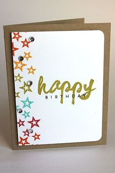 Starry Birthday Card by Heather Nichols for Papertrey Ink (March 2014)