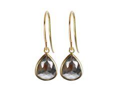 Me&Ro 18K Gold Grey Blue Opaque Diamond Earrings