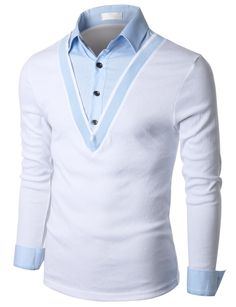 Doublju Mens Herringbone Shirt Layered Deep V-neck