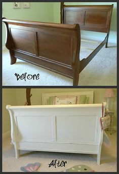 White painted sleigh bed, painted and lightly distressed. my kind of woman Sleigh Bed Painted, Painted Bed Frames, Painted Beds, Painted Headboard, Cherry Furniture, Pine Furniture, Refurbished Furniture, Paint Bedroom Furniture, Furniture Online