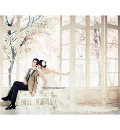 Chairs set in the middle of trees inside Golden Gate Park Asian Wedding Dress, Korean Wedding, Pre Wedding Photoshoot, Wedding Shoot, Bridal Photography, Love Photography, Korean Photoshoot, Wedding Collage, Poses